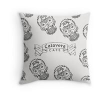 Calavera Cafe Black Skull Logo Pattern Throw Pillow