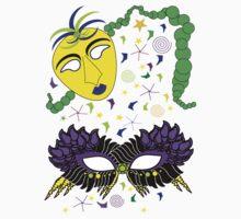 Mardi Gras Masks Beads Confetti by Candace Byington