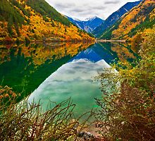 Autumn Reflection in Mirror Lake, Jiuzhaigou 2 by Daniel H Chui