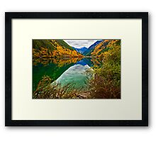 Autumn Reflection in Mirror Lake, Jiuzhaigou 2 Framed Print