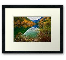 Autumn Reflection in Mirror Lake, Jiuzhaigou 2 Framed Print