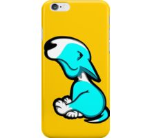 Innocent English Bull Terrier Puppy Aqua and White iPhone Case/Skin