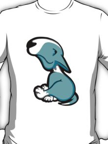 Innocent English Bull Terrier Puppy Aqua and White T-Shirt