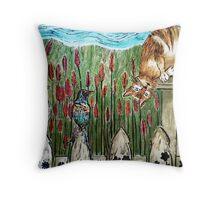 Three Blind Birds 2 - Woodcut Throw Pillow