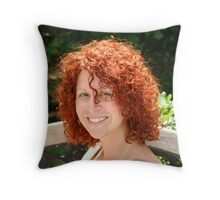 This photo shows her red hair  Throw Pillow