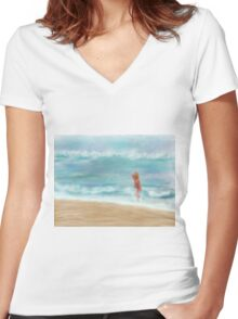Ocean Free Women's Fitted V-Neck T-Shirt