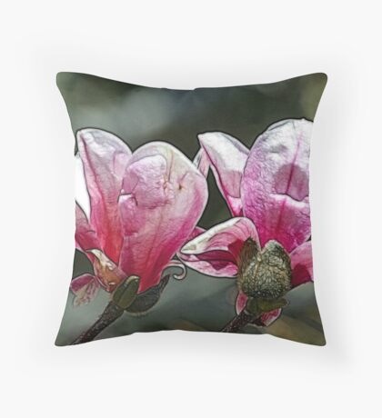 Magnolias Throw Pillow