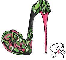 Go Green and Pink High Heel Art Illustration by elizabethforero