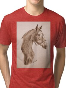 """""""Argentinian Beauty"""" - Criollo mare - Sepia Tri-blend T-Shirt"""