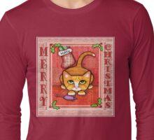 Merry Christmas Cat T-Shirt Long Sleeve T-Shirt