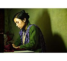She Sews into the Night Photographic Print