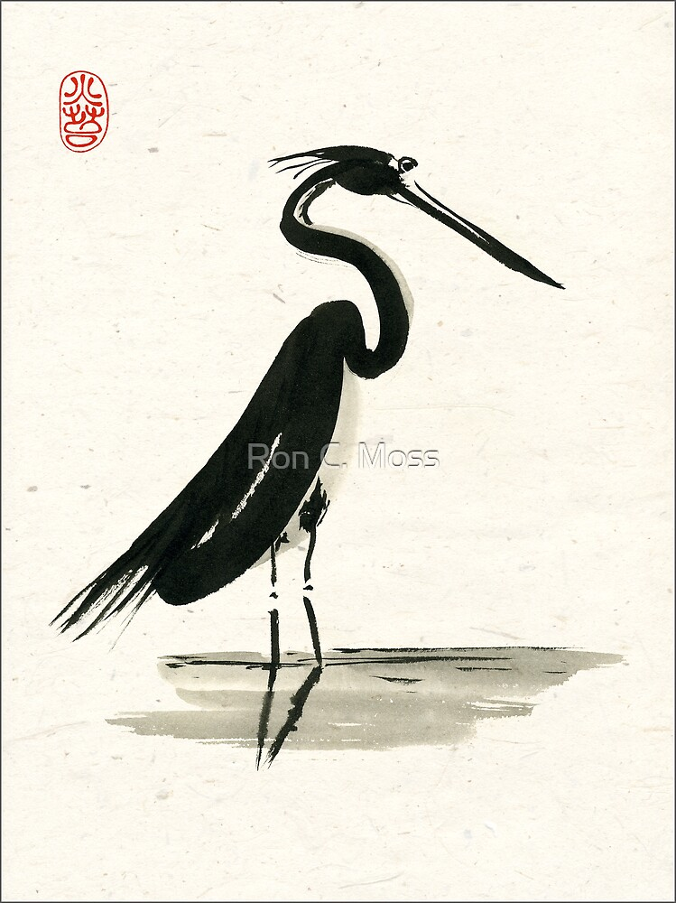 heron on rice paper by Ron C. Moss