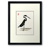 heron on rice paper Framed Print