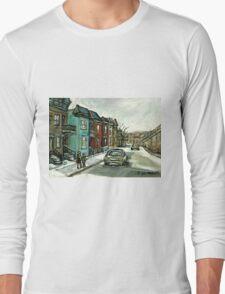 HISTORICAL VERDUN STREET RUE MAY VANISHING MONTREAL Long Sleeve T-Shirt