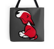 Innocent English Bull Terrier Puppy Red Tote Bag
