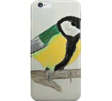 Great Tit Coloured Pencil Drawing iPhone Case/Skin
