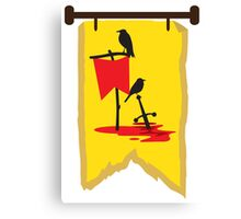 BANNER CREST SIGIL Crows with red banners on a blood soaked battlefield Canvas Print