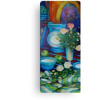 still-life with apples and roses Canvas Print