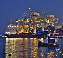 Dusk at Malta Freeport by M G  Pettett