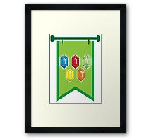 BANNER CREST SIGIL Green with 5 jewels rupees Blue, red, green and orange Framed Print