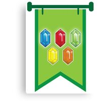 BANNER CREST SIGIL Green with 5 jewels rupees Blue, red, green and orange Canvas Print