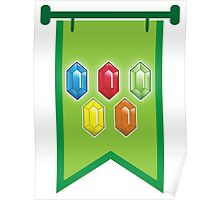 BANNER CREST SIGIL Green with 5 jewels rupees Blue, red, green and orange Poster