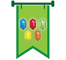 BANNER CREST SIGIL Green with 5 jewels rupees Blue, red, green and orange Photographic Print