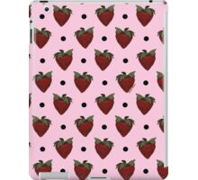 Strawberries and Black Polka Dots with Light Pink Background iPad Case/Skin