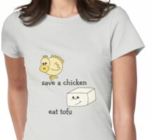Save a Chicken Eat Tofu Womens Fitted T-Shirt