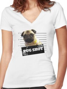 Pug Shot Women's Fitted V-Neck T-Shirt