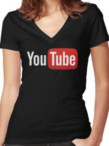 YouTube Full Logo - Red on Black Women's Fitted V-Neck T-Shirt