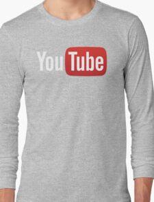 YouTube Full Logo - Red on Black Long Sleeve T-Shirt