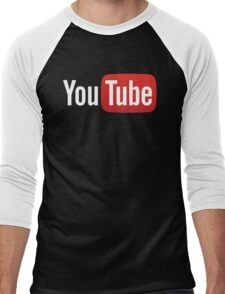 YouTube Full Logo - Red on Black Men's Baseball ¾ T-Shirt