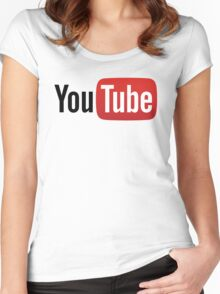 YouTube Full Logo - Red on White Women's Fitted Scoop T-Shirt