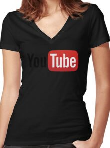 YouTube Full Logo - Red on White Women's Fitted V-Neck T-Shirt