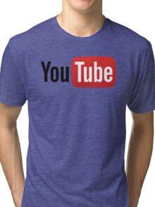 YouTube Full Logo - Red on White Tri-blend T-Shirt