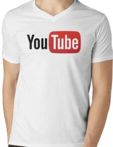 YouTube Full Logo - Red on White Mens V-Neck T-Shirt