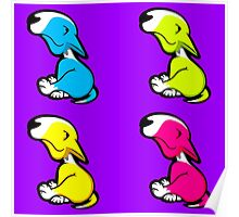 Innocent English Bull Terrier Puppy Block Pattern  Poster