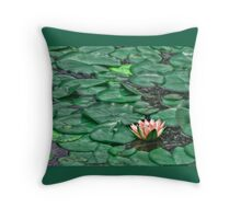 Peach Water Lily - Shades of Monet Throw Pillow