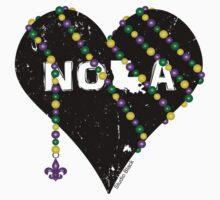 NOLA Heart Wrapped in Mardi Gras Beads Kids Tee