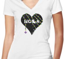 NOLA Heart Wrapped in Mardi Gras Beads Women's Fitted V-Neck T-Shirt