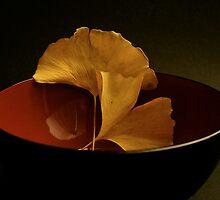 ginkgo  falling leafs in a Japanese mug .... by anisja