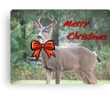 Merry Christmas Buck Deer With Bow Christmas Card Canvas Print