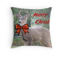 Merry Christmas Buck Deer With Bow Christmas Card Throw Pillow
