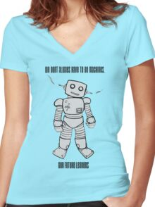 Robot Machines Women's Fitted V-Neck T-Shirt