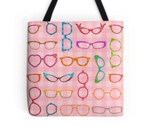 Eyeglasses Retro Modern Hipster with Pink Gingham Tote Bag