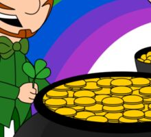 Cartoon leprechauns with pot of gold Sticker