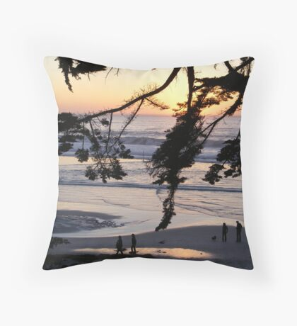 Carmel Sunset Walk Throw Pillow