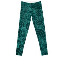ACID PEACOCK Lucky Clover: Dark Emerald/Teal Line Design Leggings Leggings