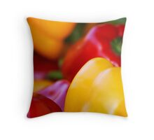 Red and yellow pepper close up Throw Pillow